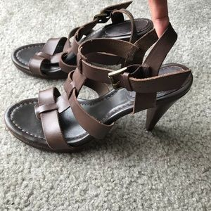 Boden Brown leather strapy heels Sz 39